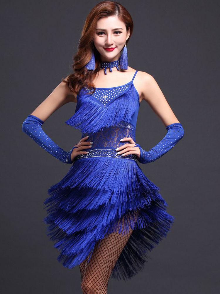 bf5225f21b0 Blue Latin Dance Dress Straps Fringe Milk Silk Dress (Costumes Latin Dance  Costumes) photo