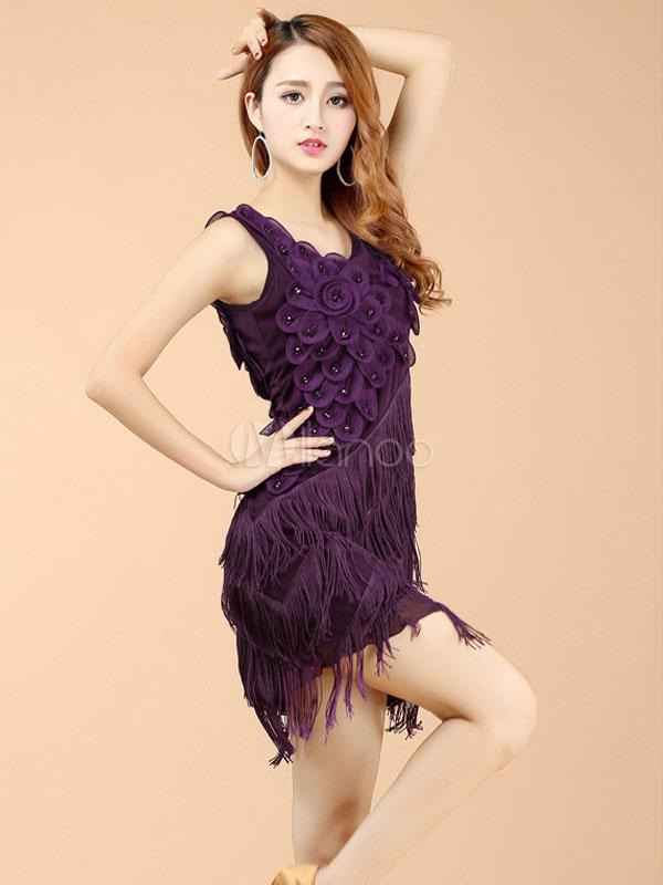 Purple Latin Dance Dress Fringe Ruffles Milk Silk Dress