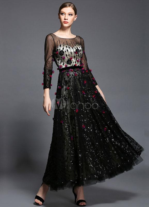 Black Mesh Sequins Satin Evening Dress (Wedding Evening Dresses) photo