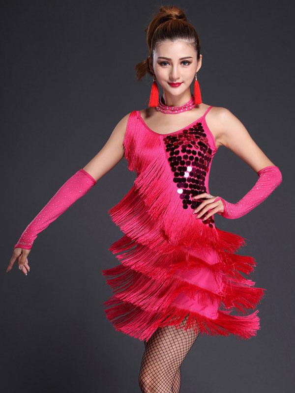 Rose Red Latin Dance Dress Straps Fringe Sequins Milk Silk Dress (Costumes Latin Dance Costumes) photo