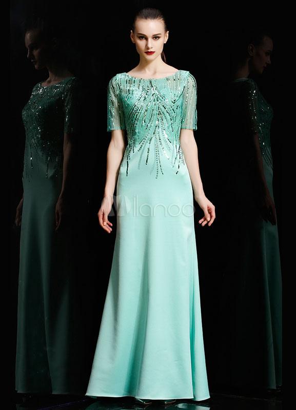 Light Green Satin Sequins Maxi Prom Dress 2018 (Wedding Prom Dresses) photo