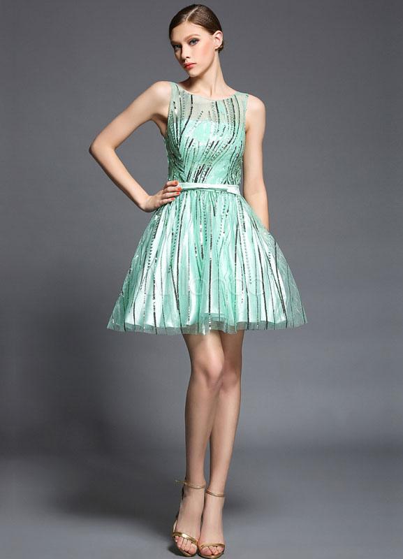 Green Sash Print Satin Cocktail Dress (Wedding Cheap Party Dress) photo