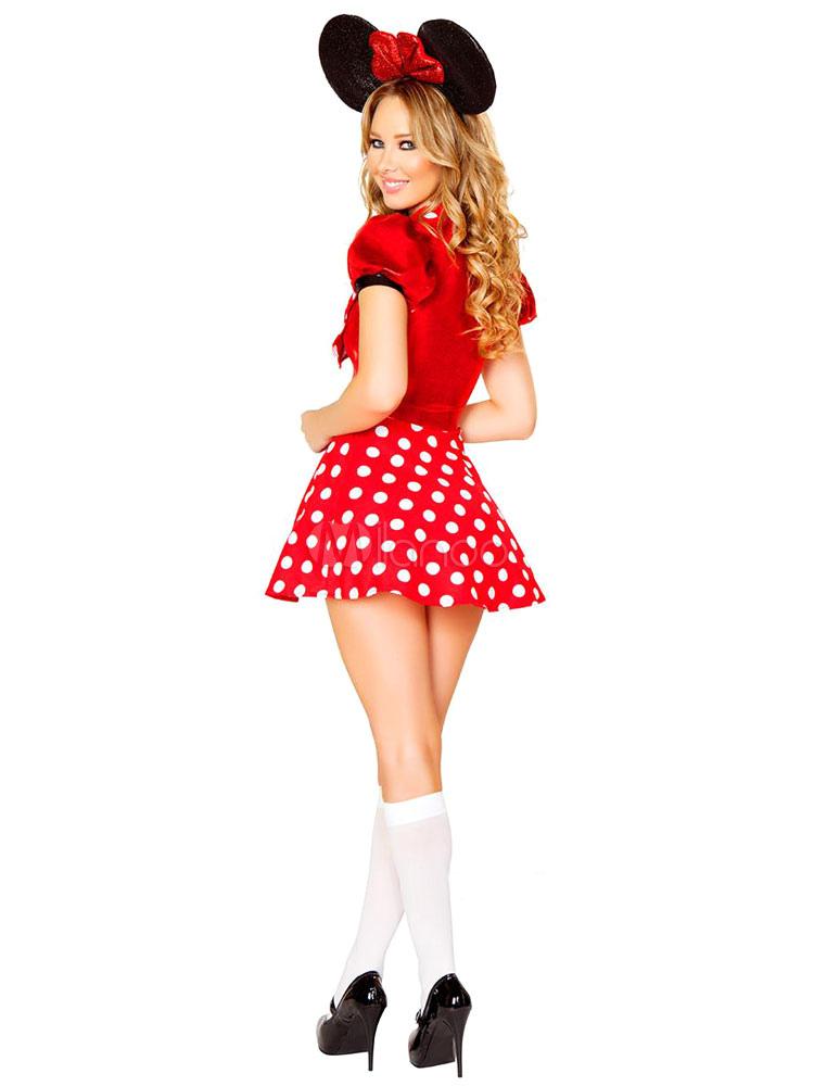 karneval rot micky maus polka dot bow aus polyester kleid f r frauen. Black Bedroom Furniture Sets. Home Design Ideas
