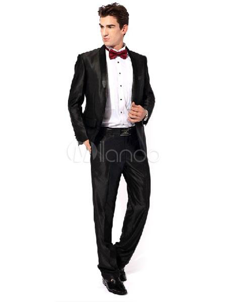 schwarz groom schaltfl chen satin schicke hochzeit anzug. Black Bedroom Furniture Sets. Home Design Ideas