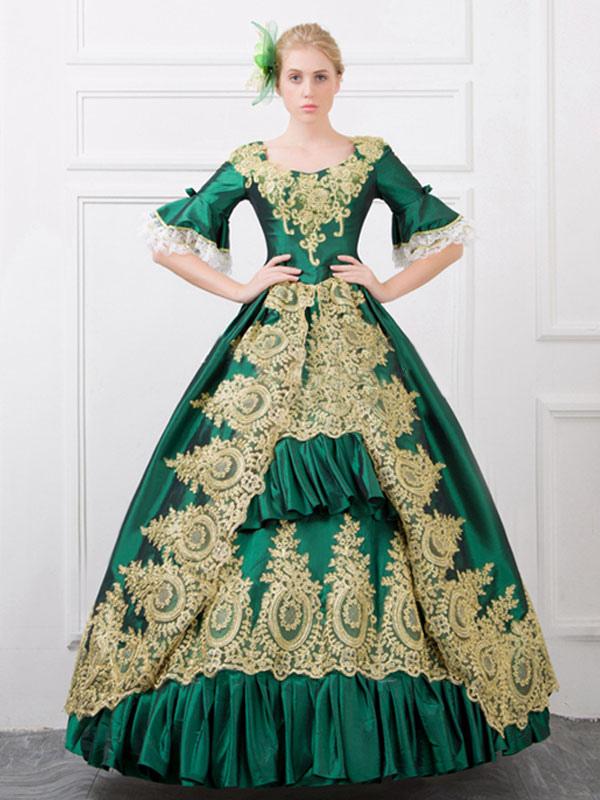 Green Retro Costume Baroque Ruffles Ball Gown Printed Slim Fit Dress Halloween (Costumes) photo