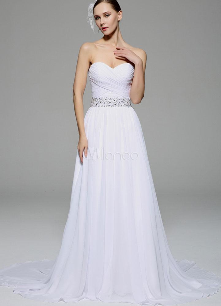 robe bustier ceinture dos nu strass mariage en mousseline de soie robe ...