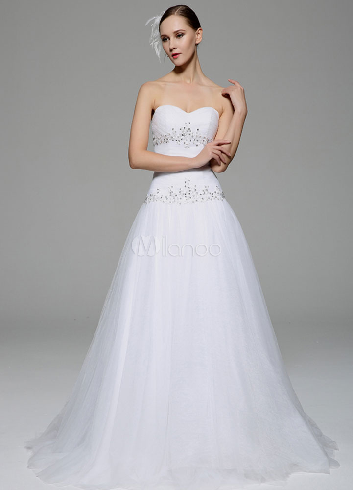 White Wedding Dress Strapless Rhinestone Tulle Wedding Gown (Tulle Wedding Dress) photo