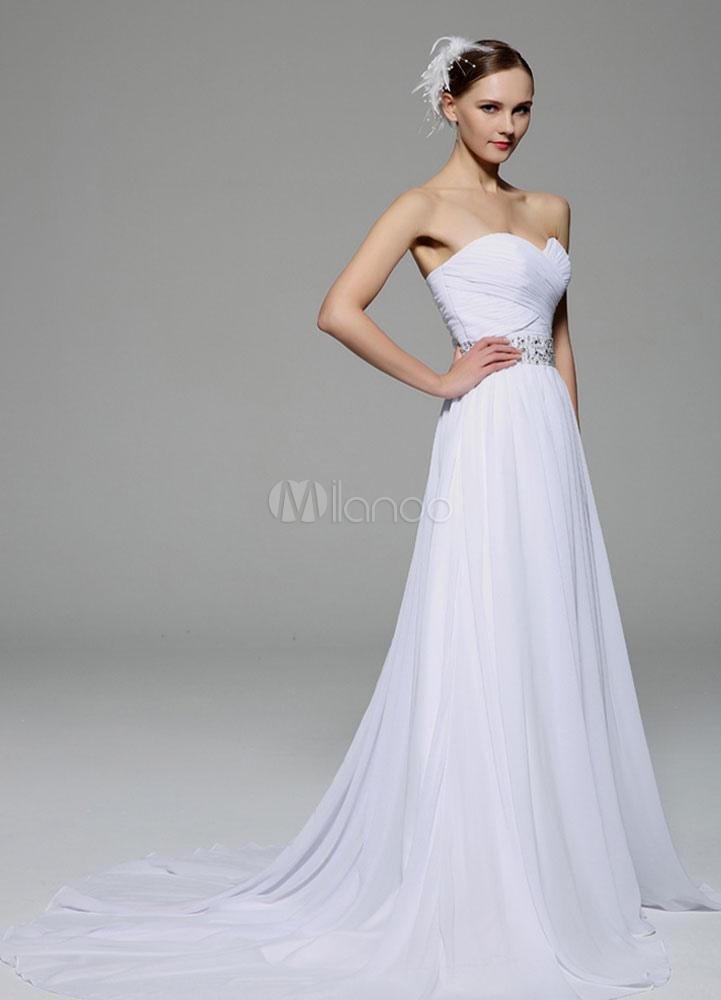 white robe bustier ceinture dos nu strass mariage en mousseline de soie robe de mari e. Black Bedroom Furniture Sets. Home Design Ideas