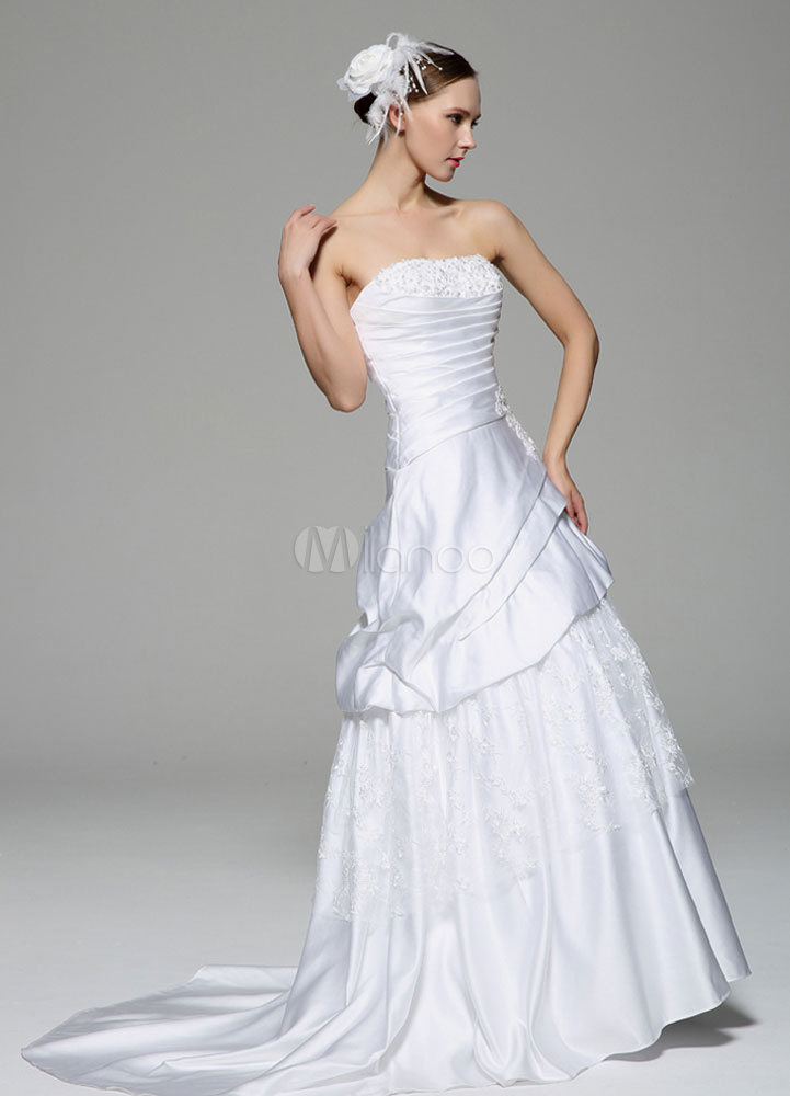 White Wedding Dress Strapless Beaded Ruched Tiered Wedding Gown photo