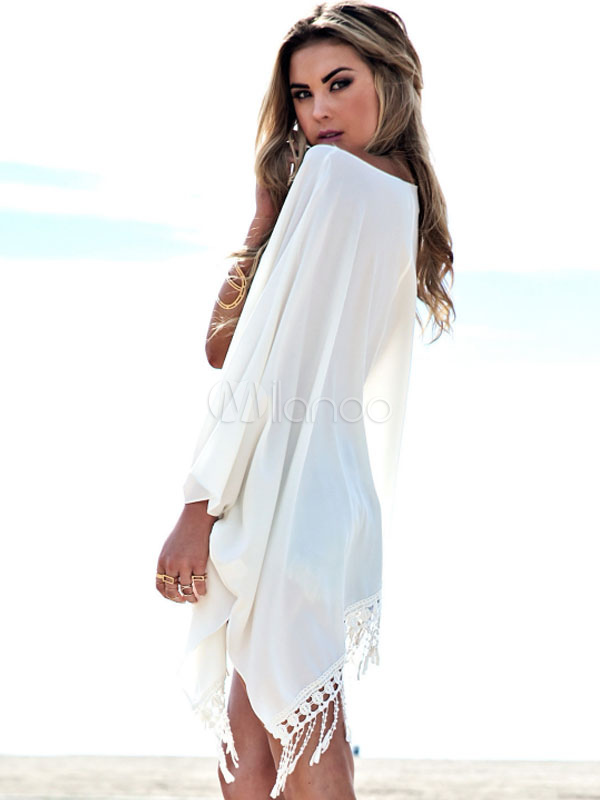 white asymmetrical oversized fringe chiffon cover up for