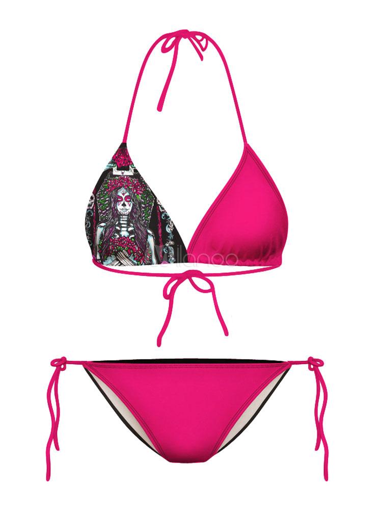 Traje De Baño Rojo Pelicula: multicolor impresión Halter Spandex traje de baño – Milanoocom