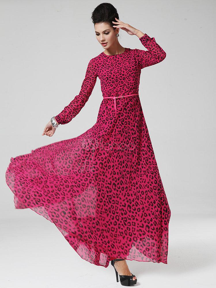 Rose Red Maxi Dress Leopard Print Sash Cotton Dress (Women\\'s Clothing Maxi Dresses) photo