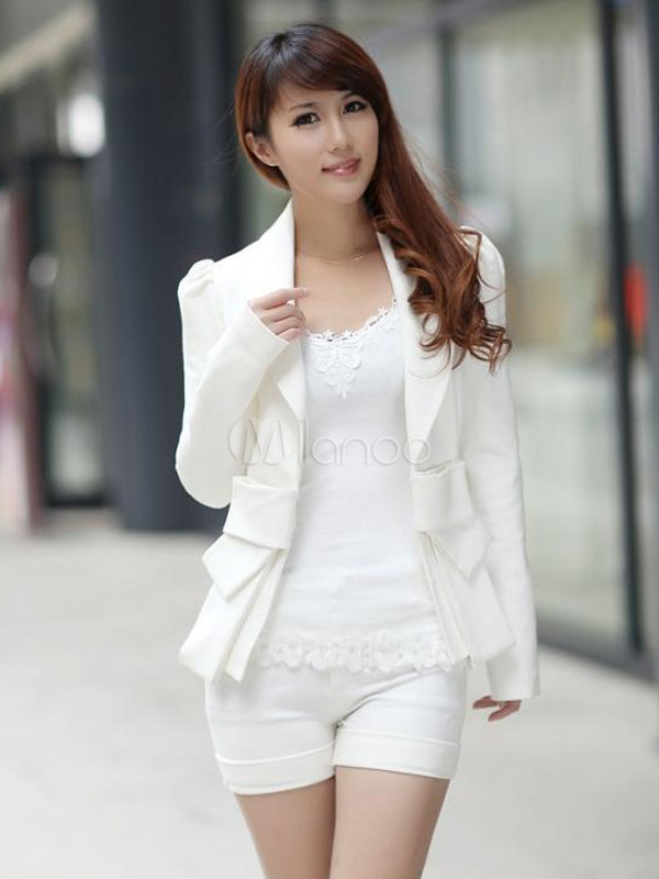 blazer blanc bow dentelle slim fit coton blend blazer pour femmes. Black Bedroom Furniture Sets. Home Design Ideas