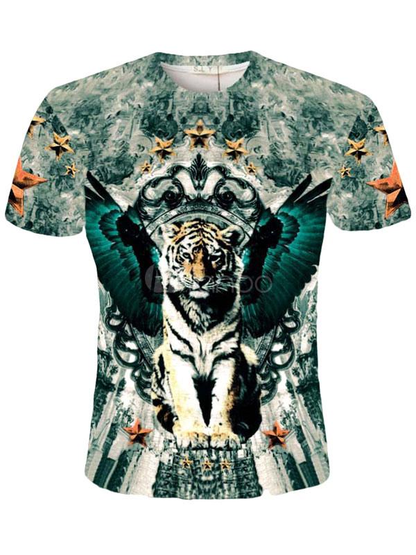 multicolor tiger imprimer t shirt coton impression 3d t shirt pour hommes. Black Bedroom Furniture Sets. Home Design Ideas