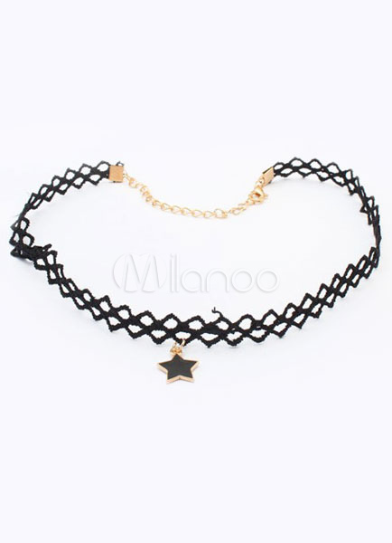 Black Gothic Necklace Star Pattern Lace Metal Necklace for Women steampunk buy now online