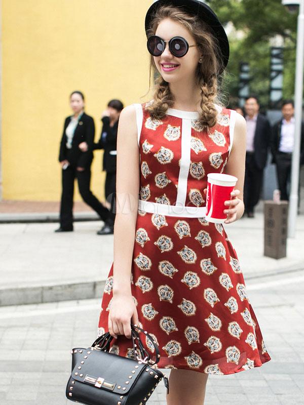 Red Flare Dress Print Slim Fit Satin Vintage Dress (Women\\'s Clothing Vintage Dresses) photo