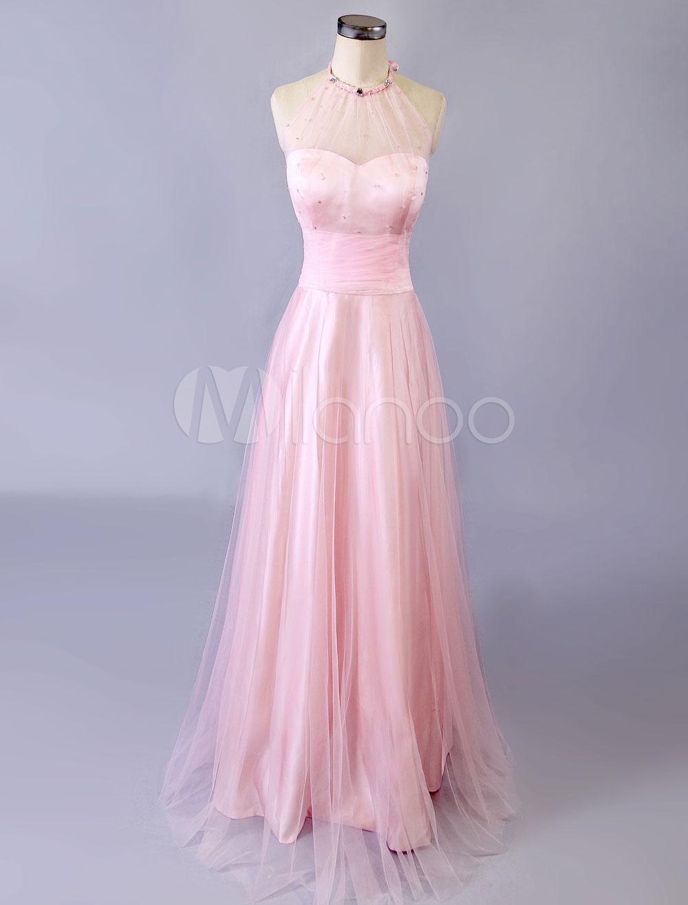 Pink Prom Dress 2018 Halter Illusion Backless Tulle Dress (Wedding Prom Dresses) photo