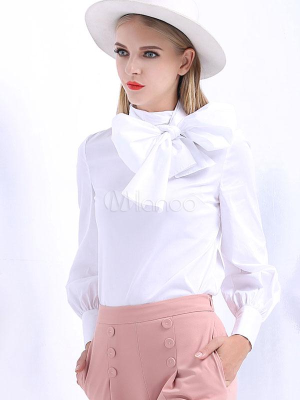 Chemisier blanc bow coton chic chemisier pour femmes for Chemisier blanc femme chic