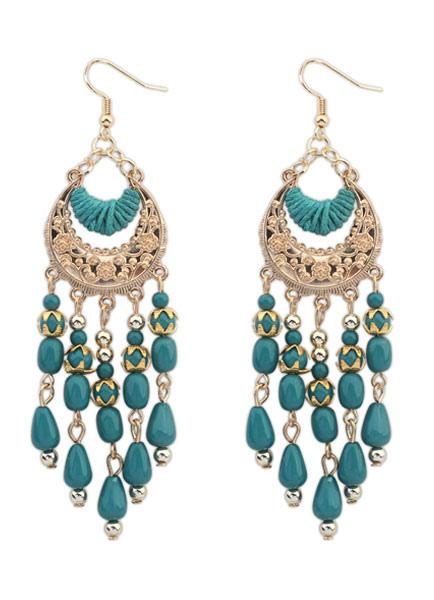 Multicolor Earrings Fringe Boho Metal Earrings for Women thumbnail
