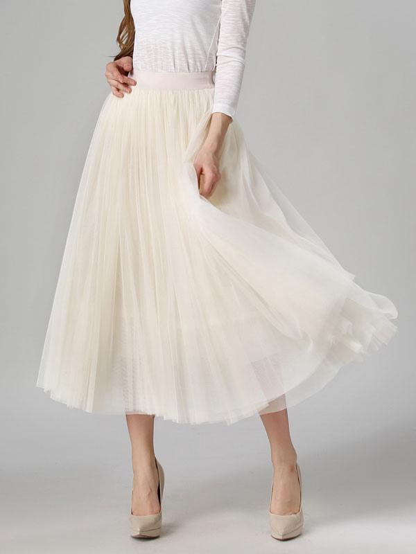 Apricot Skirt Pleated Tea-Length Crepe Skirt for Women thumbnail