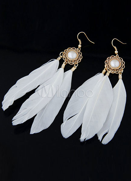 White Earrings Pearls Feather Chic Earrings for Women thumbnail