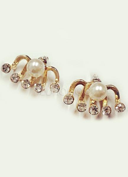 Gold Earrings Drop Shape Rhinestone Metal Earrings for Women thumbnail