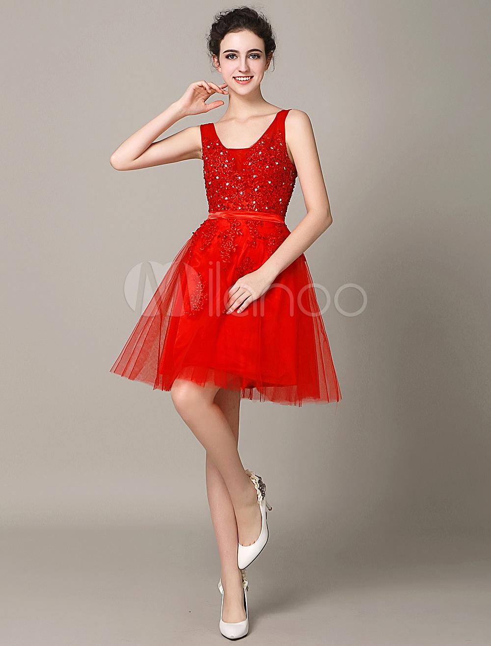 Red Beading Cocktail Dress Beading Short Graduation Dress