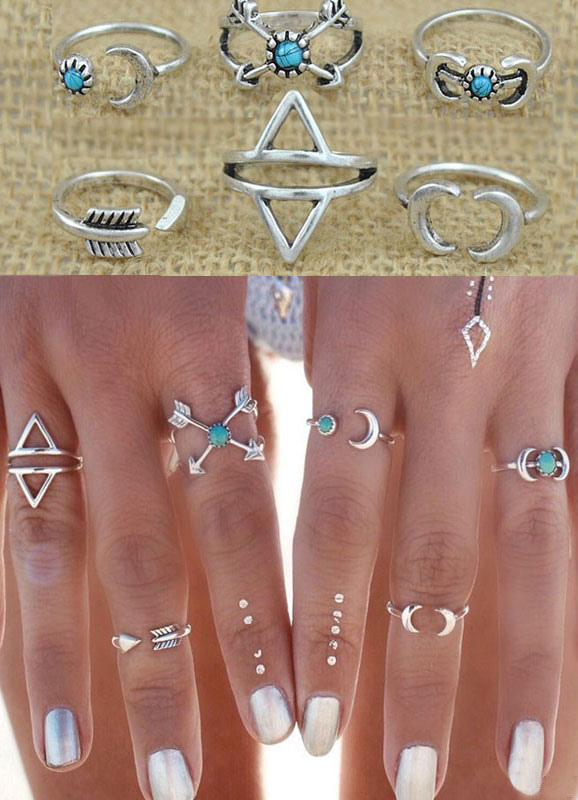 Silver Knuckle Rings Geometric Pattern Rings for Women thumbnail