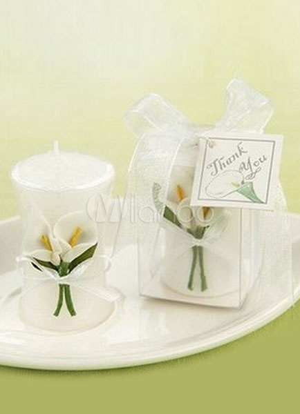 White Wedding Candle Lily Flower Shape Wax Candle