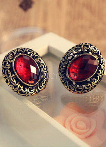 Red Earrings Round Shape Rhinestone Vintage Metal Earrings for Women