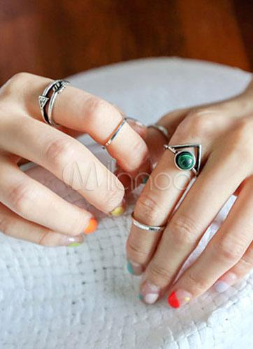 Silver Rings Beaded Vintage Metal Rings for Women