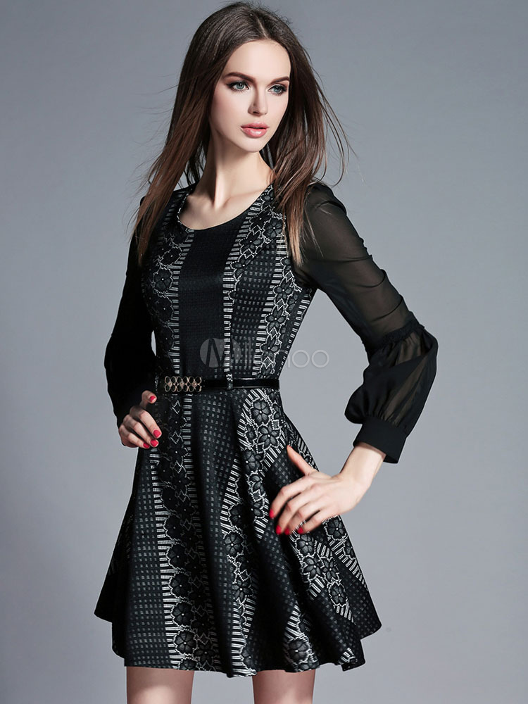 Black Flare Dress Print Sash Lace Dress (Women\\'s Clothing Lace Dresses) photo