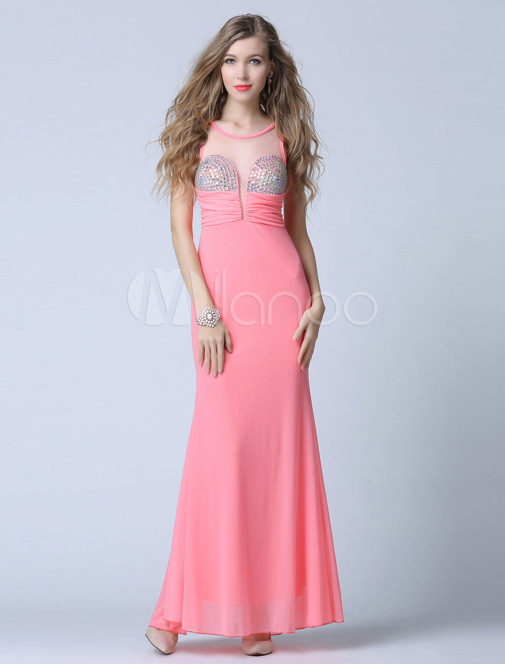 Pink Prom Dress Backless Illusion Beaded Evening Dress (Wedding Cheap Party Dress) photo
