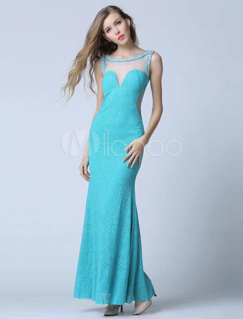 Sky Blue Prom Dress Sheath Illusion Backless Evening Dress (Wedding Cheap Party Dress) photo