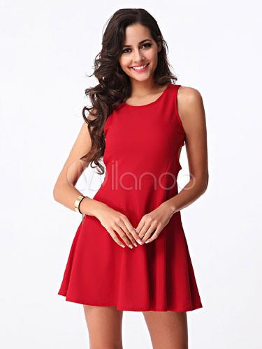 Red Mini Dress Backless Cut Out Cotton Short Dress (Women\\'s Clothing Skater Dresses) photo