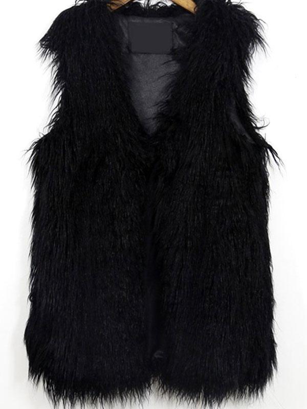 Gilet noir fausse fourrure polyester veste pour femmes - Gilet fausse fourrure noir ...