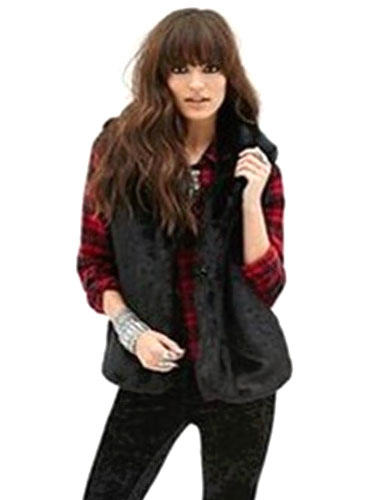 gilet noir fausse fourrure trendy polyester veste pour femme. Black Bedroom Furniture Sets. Home Design Ideas