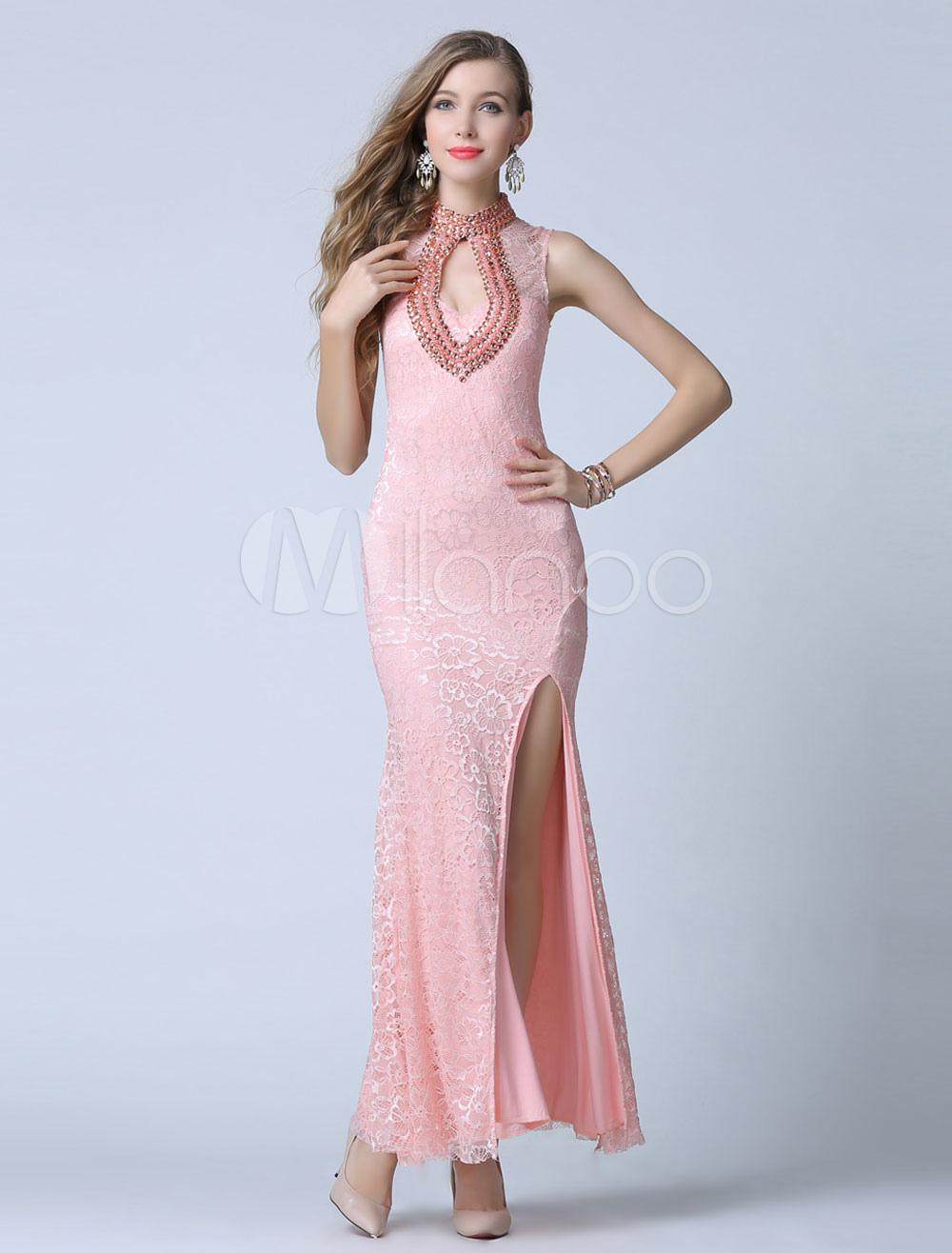 Pink Prom Dress Low-Cut Split Lace Evening Dress (Wedding Cheap Party Dress) photo