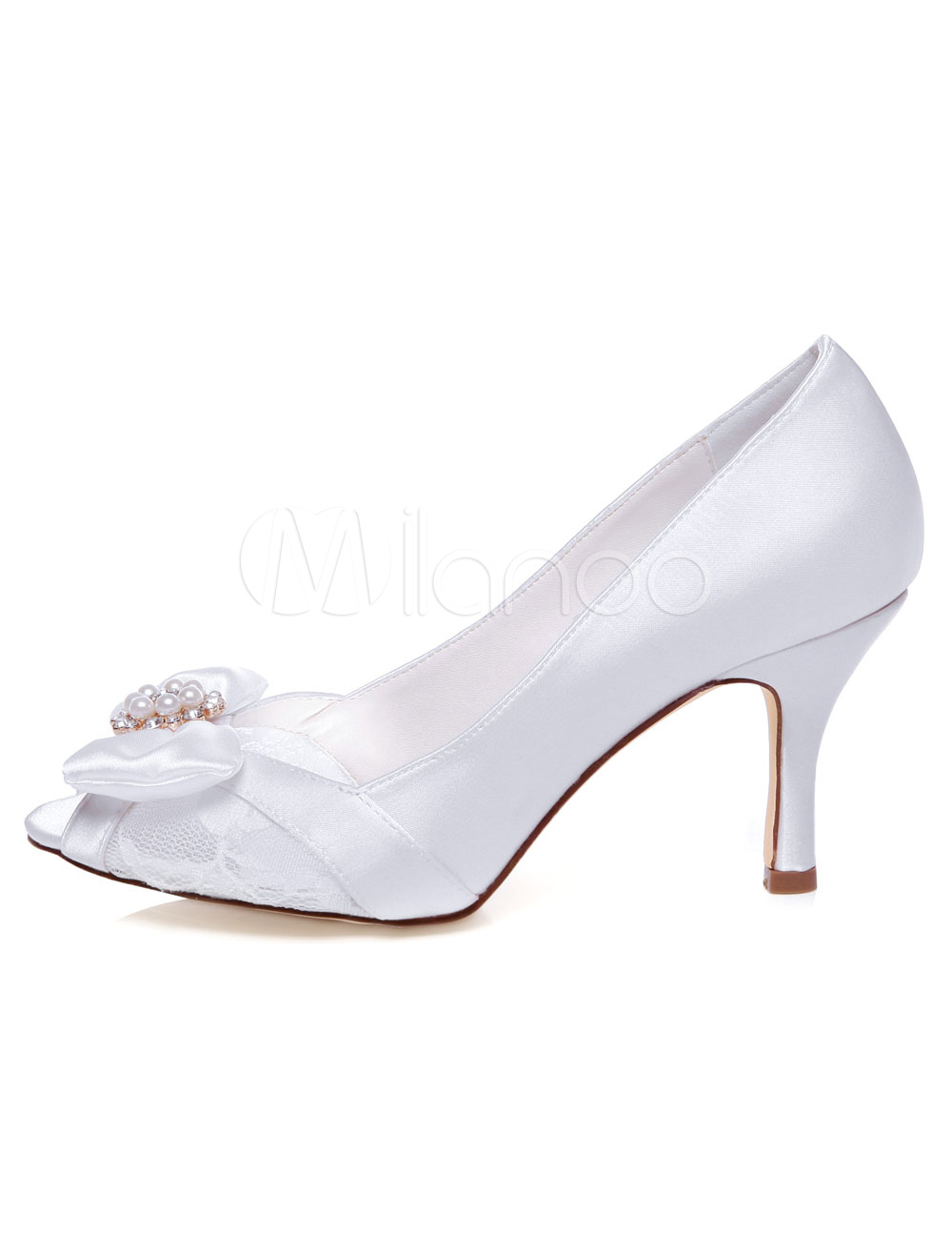 White Bridal Pumps Peep Toe Pearls Bows Satin Sandals