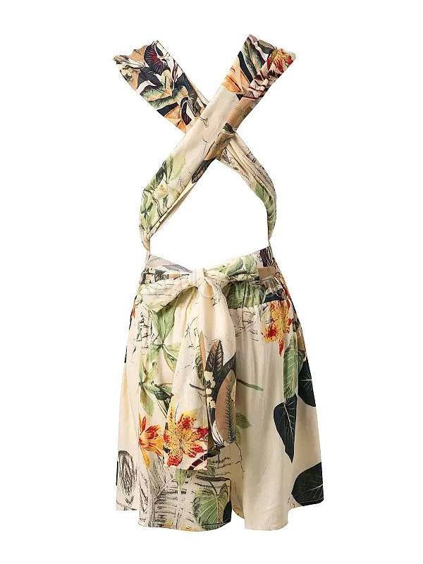 wei es minikleid neckholder r ckenfreie floral print baumwolle strampler. Black Bedroom Furniture Sets. Home Design Ideas