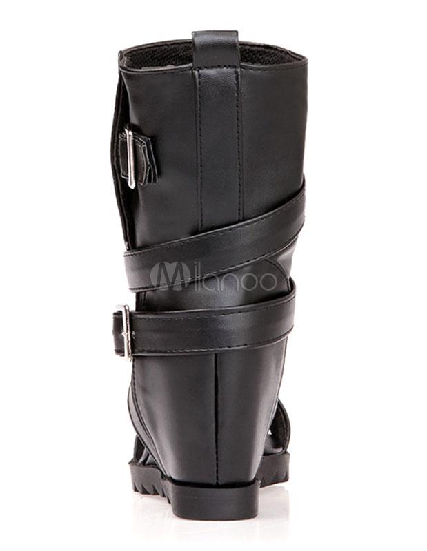 schwarze stiefel ausschnitt schnalle pu sandalen f r damen. Black Bedroom Furniture Sets. Home Design Ideas