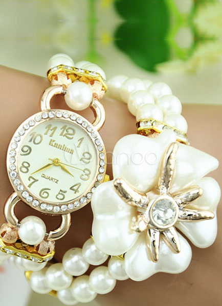 Multicolor Watch Pearl Flower Rhinestone Metal Watch for Women thumbnail