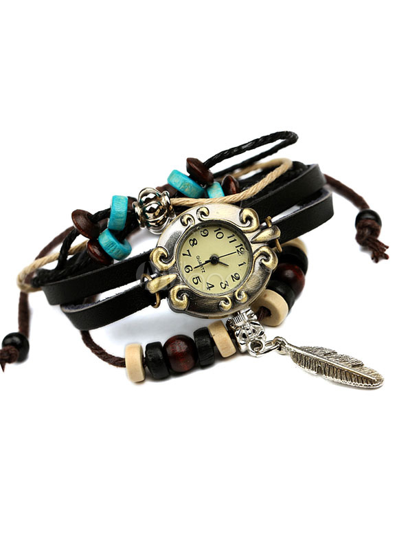 Multicolor Watch Beaded Vintage Stainless Steel Watch for Women