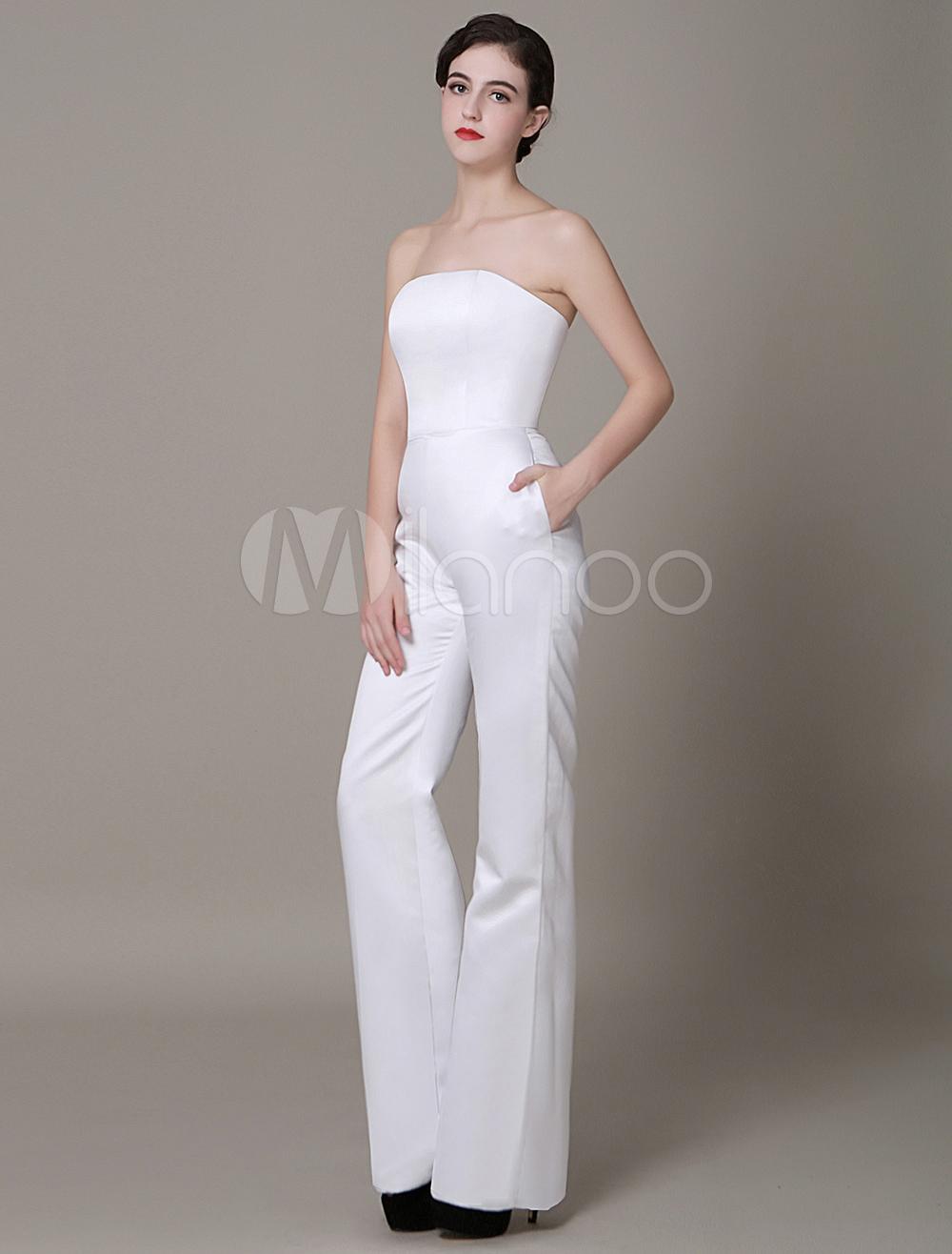 White Satin Wedding Suits Strapless High Waist Red Carpet Dress Milanoo (Cheap Wedding Dress) photo