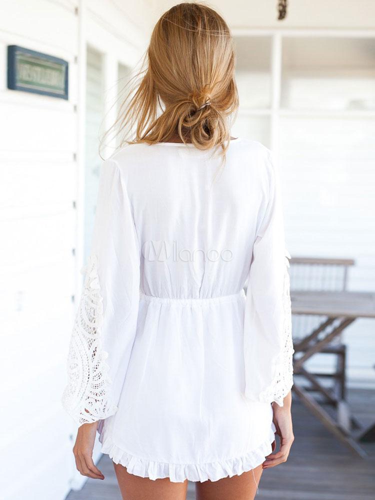 robe d 39 t blanche mini robe dentelle profonde v. Black Bedroom Furniture Sets. Home Design Ideas
