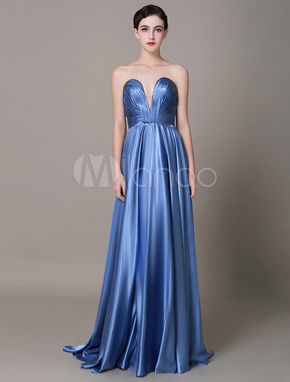Blue Prom Dress 2018 Long Satin Evening Dress Strapless Plunging Floor Length Party Dress Milanoo (Wedding Evening Dresses) photo