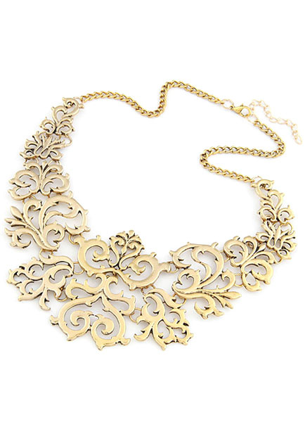 Gold Necklace Vintage Cut-Out Metal Necklace for Women