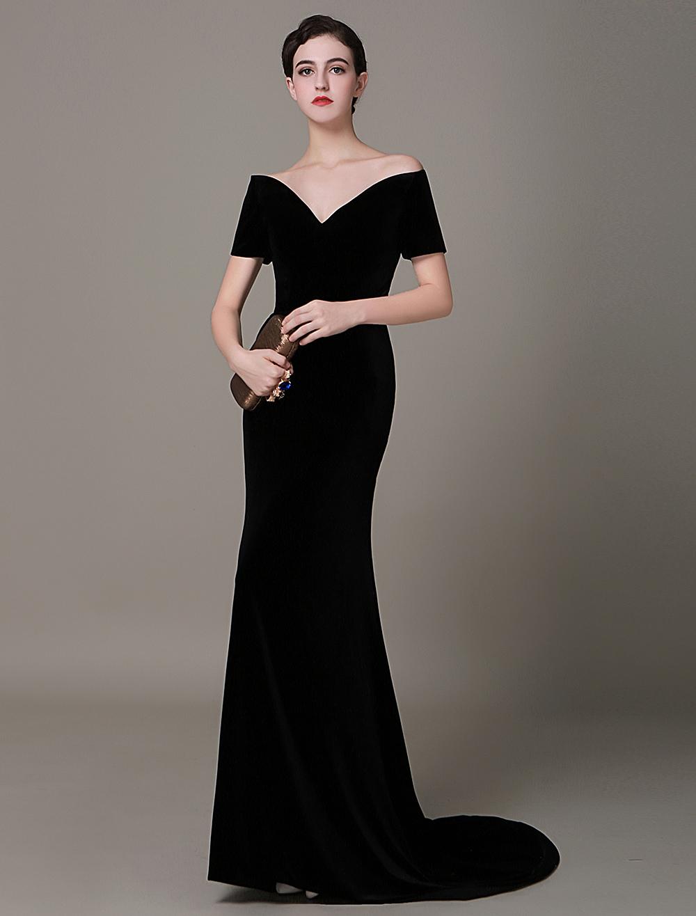 Black Prom Dresses 2018 Long Mermaid Velvet Evening Dress Vintage Lady Gaga Red Carpet Dress Milanoo (Wedding Evening Dresses) photo