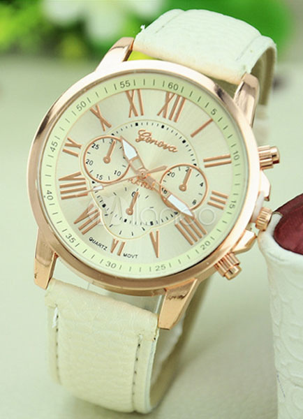 White Watch Alloy Round Shape Watch for Women thumbnail