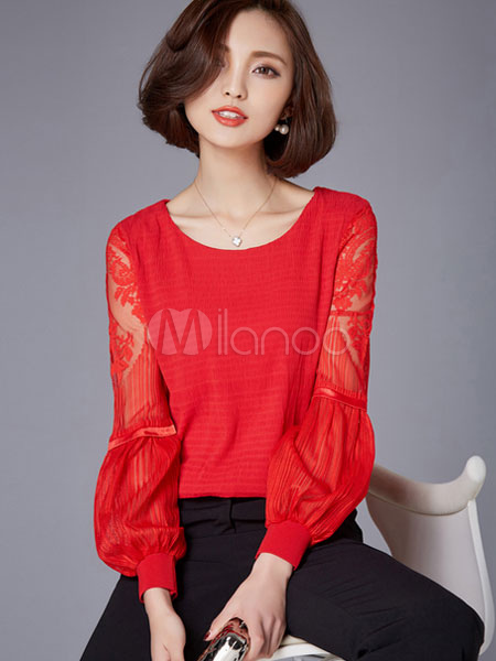 chemisier rouge chic lace blouse polyester pour les femmes. Black Bedroom Furniture Sets. Home Design Ideas